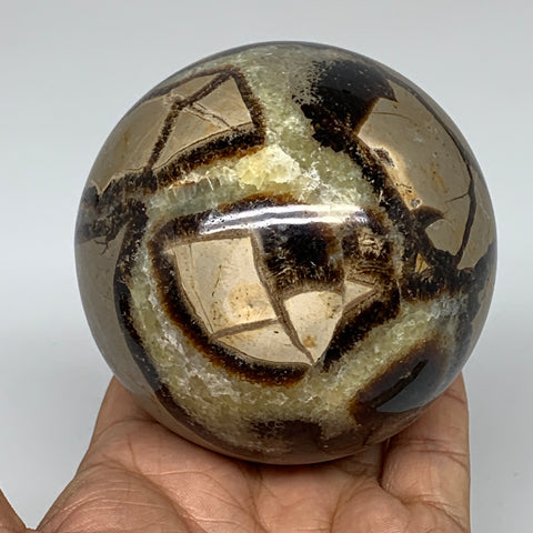 "698g,3.2"" Natural Septarian Sphere Crystal Gemstone Ball @Madagascar, B5279"