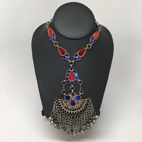 Handmade Afghan Tribal Kuchi Multi-Color Glass Bells Boho ATS Necklace, KN362 - watangem.com