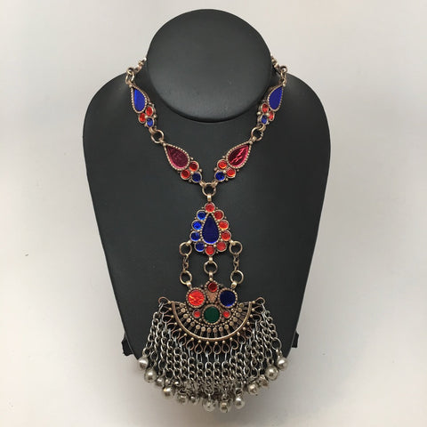 Handmade Afghan Tribal Kuchi Multi-Color Glass Bells Boho ATS Necklace, KN365 - watangem.com