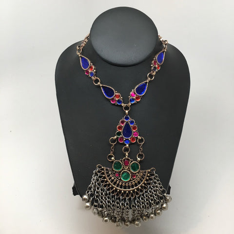 Handmade Afghan Tribal Kuchi Multi-Color Glass Bells Boho ATS Necklace, KN366 - watangem.com