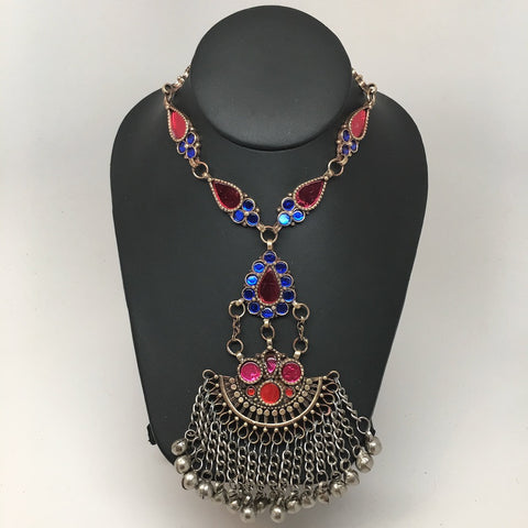 Handmade Afghan Tribal Kuchi Multi-Color Glass Bells Boho ATS Necklace, KN367 - watangem.com