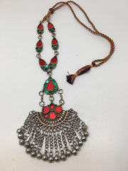Handmade Afghan Tribal Kuchi Multi-Color Glass Bells Boho ATS Necklace, KN370 - watangem.com