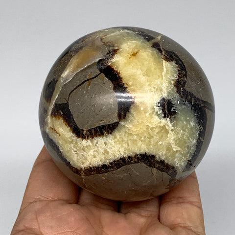 "435.6g,2.7"" Natural Septarian Sphere Crystal Gemstone Ball @Madagascar, B5285"