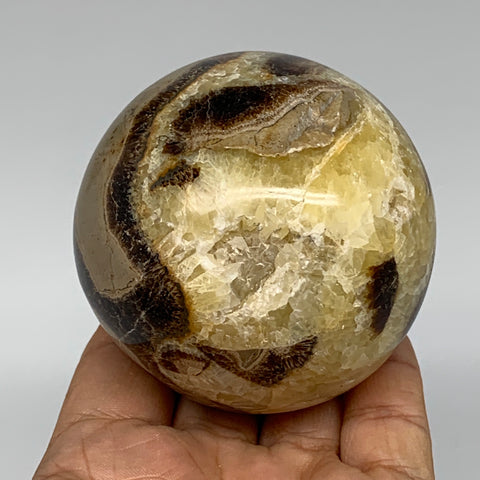 "433.9g,2.7"" Natural Septarian Sphere Crystal Gemstone Ball @Madagascar, B5288"