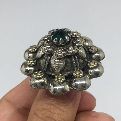 "1.6""Antique Tribal Turk/Kuchi Ring Round Green Boho Glass/Plastic,8,8.5,TR195"
