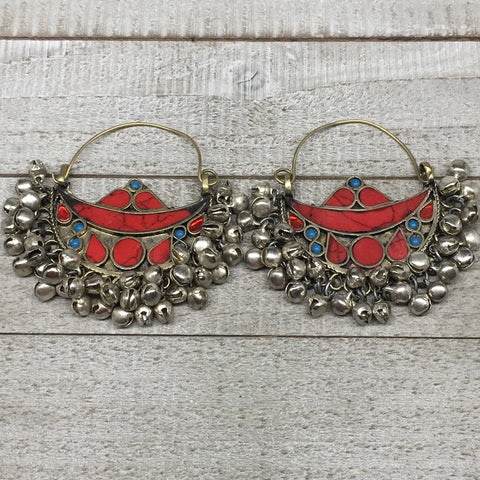 "2.8""x2.5"", Turkmen Earrings Tribal Statement Boho Bib Hoop Fashion Bells KE211"