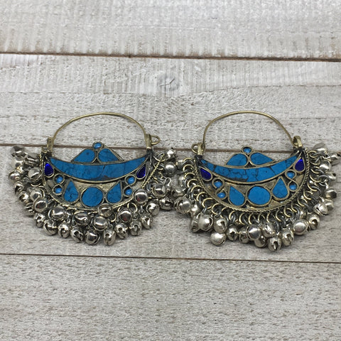 "2.8""x2.5"", Turkmen Earrings Tribal Statement Boho Bib Hoop Fashion Bells, KE215"