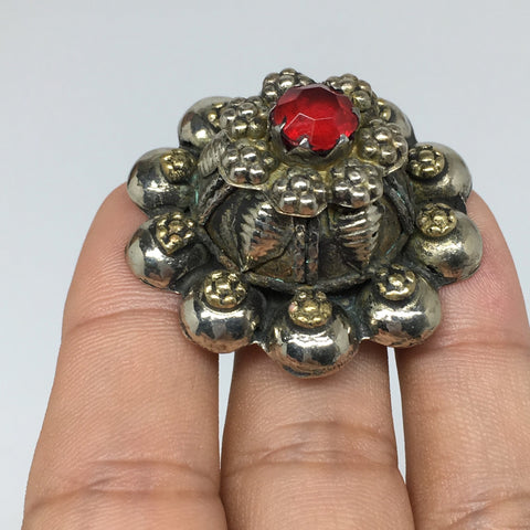 "1.6""Antique Tribal Turk/Kuchi Ring Round Red Glass/Plastic,8,8.5,9.5,10, TR197"