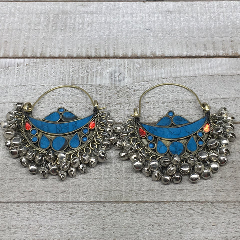 "2.8""x2.5"", Turkmen Earrings Tribal Statement Boho Bib Hoop Fashion Bells, KE216"
