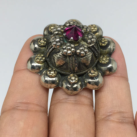 "1.6""Antique Tribal Turk/Kuchi Ring Round Purple Glass/Plastic Boho,8,8.5,9,TR198"
