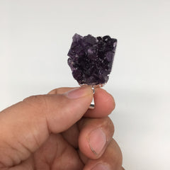 "16.4g,1.5""x1""Natural Rough Amethyst Druze Pendant Silver Plated @Brazil,Bp1396"