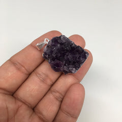 "15.2g,1.5""x0.9""Natural Rough Amethyst Druze Pendant Silver Plated @Brazil,Bp1405"