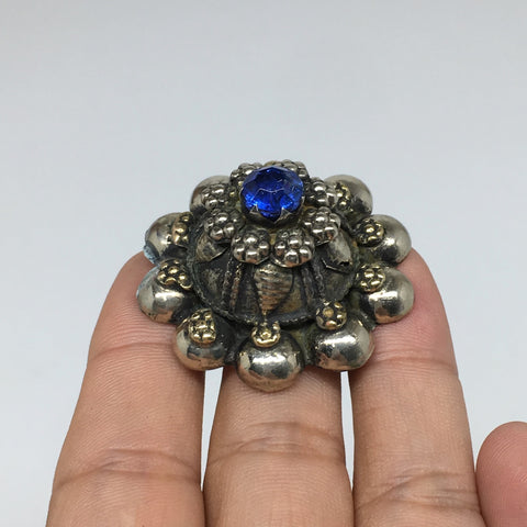 "1.6""Antique Tribal Turkmen Kuchi Ring Round Blue Glass Plastic Boho,8.5,TR215"