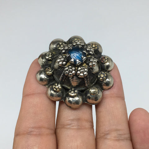 "1.6""Antique Tribal Turkmen Kuchi Ring Round Blue Glass Plastic Boho,8,TR217"