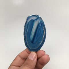 121.5 cts Blue Agate Slice Electroplated Silver Plated Pendant from Brazil, D60