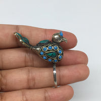 "1.6""x0.6"" Antique Turkmen Ring Bird Fashion Statement Green Boho,8,8.5,9,TR220"