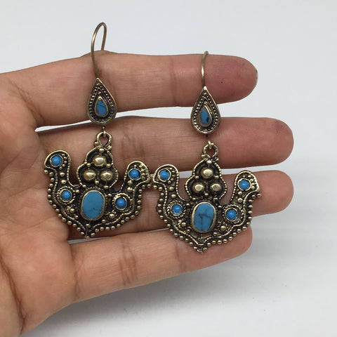 "1pc, 2.4"" Turkmen Earring Synthetic Turquoise Fashion ATS Boho @Afghanistan,TE17"