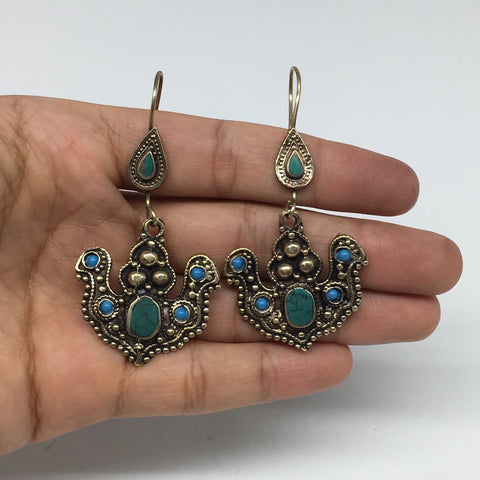 "1pc,2.6"" Turkmen Earring Synthetic Turquoise Fashion ATS Boho @Afghanistan,TE181"