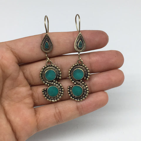 "1pc, 2.2"" Turkmen Earring S Synthetic Turquoise Fashion ATS  @Afghanistan,TE183"