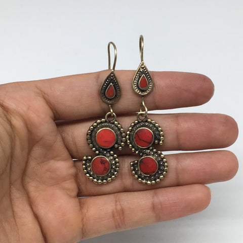 "1pc, 2.4"" Turkmen Earring S Synthetic Coral Fashion ATS  @Afghanistan,TE185"