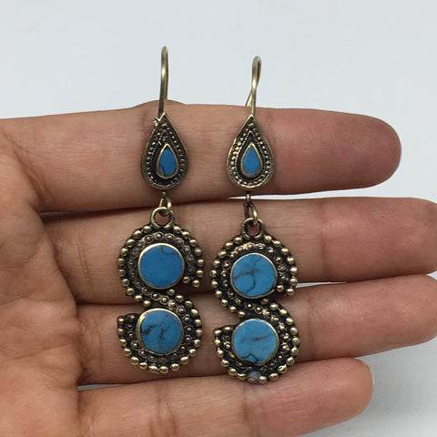 "1pc, 2.3"" Turkmen Earring S Synthetic Turquoise Fashion ATS  @Afghanistan,TE186"