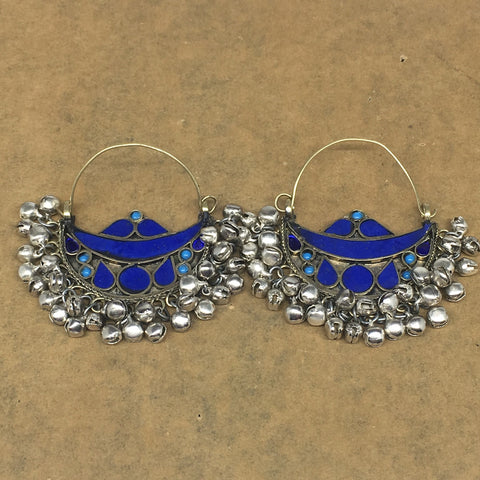"2.8""x2.5"", Turkmen Earrings Tribal Statement Boho Bib Bells Hoop Earring, KE221"