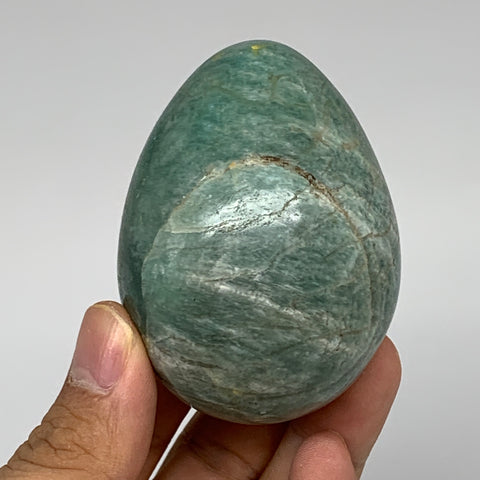 "195.9g,2.6""x1.9"" Natural Amazonite Egg Crystal Reiki Energy @Madagascar,B5338"