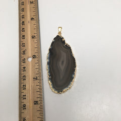 92.5 cts Brown Agate Slice Pendant Electroplated Gold Plated from Brazil,D43