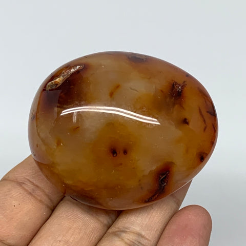 "138.8g,2.3""x1.9""x1.6"" Red Carnelian Palm-Stone Gem Crystal Polished Reiki, B4384"