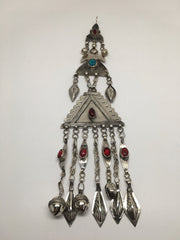 77.6 Grams Old Afghan Turkmen Tribal ATS Bib Tassel Pendant German Silver, TN78