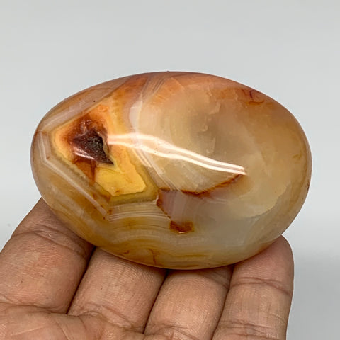 "147.3g, 2.6""x1.8""x1.4"" Red Carnelian Palm-Stone Gem Crystal Polished Reiki, B440"