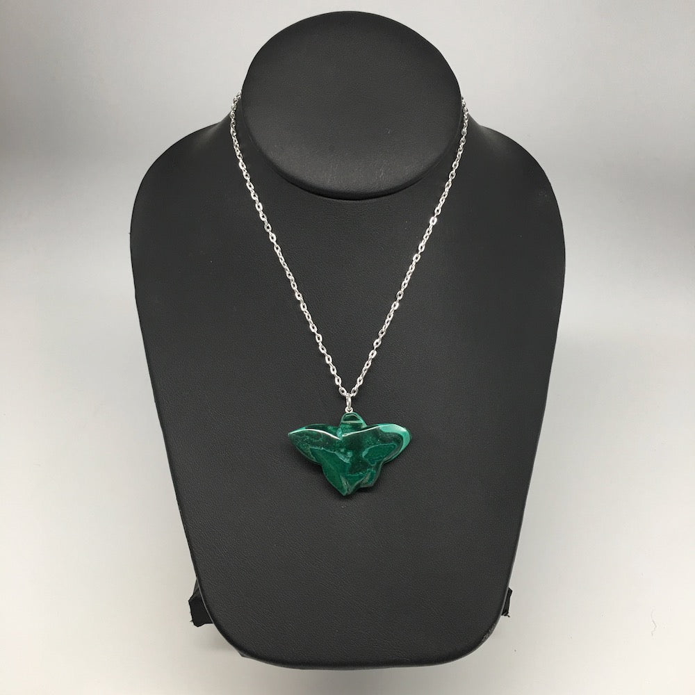 "11.4g,1.2""x1.6""x8mm Natural Solid Butterfly Malachite Pendant W/Chain Congo,MS17"