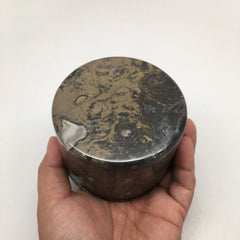 590g Round Shape Fossils Ammonite Brown Medium Jewelry Box @Morocco,MF592 - watangem.com