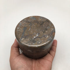 576g Round Shape Fossils Ammonite Brown Medium Jewelry Box @Morocco,MF593 - watangem.com