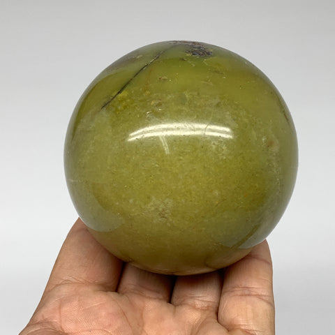 "414.3g, 2.9"" Natural Chrysoprase Sphere Crystal Gemstone Ball @Madagascar, B3484"
