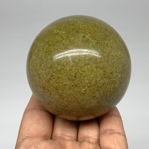 "345.1g, 2.7"" Natural Chrysoprase Sphere Crystal Gemstone Ball @Madagascar, B3489"