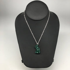 "12.1g,1.1""x0.7""x13mm Natural Solid Malachite Animal Pendant W/Chain Congo,MS202"