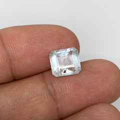 2.83cts, 8mmx7mmx5mm, Aquamarine Crystal Facetted Stone Loose @Pakistan,CTS208