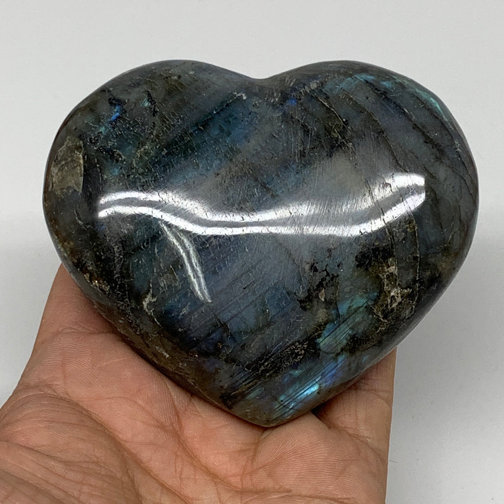 "337.1g,3""x3.5""x1.3"" Natural Labradorite Heart Polished Healing Crystal,B4443"