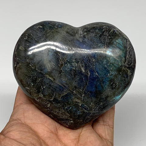 "348.7g,3""x3.5""x1.4"" Natural Labradorite Heart Polished Healing Crystal,B4444"