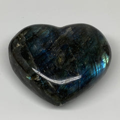 "401.7g,3.2""x3.5""x1.5"" Natural Labradorite Heart Polished Healing Crystal,B4448"