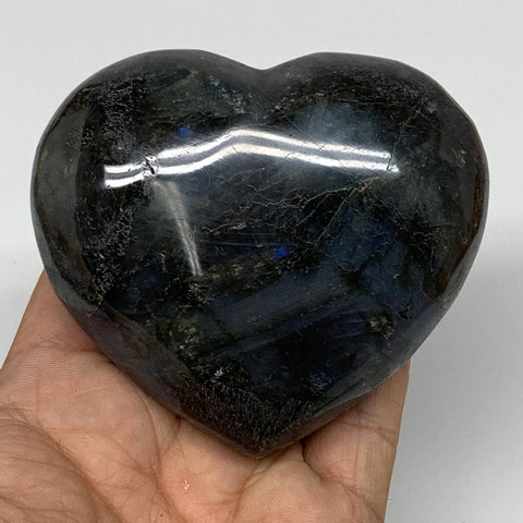 "318.5g,2.9""x3.3""x1.4"" Natural Labradorite Heart Polished Healing Crystal,B4450"
