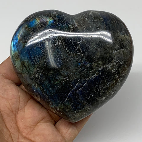 "367.2g,3.1""x3.4""x1.5"" Natural Labradorite Heart Polished Healing Crystal,B4451"