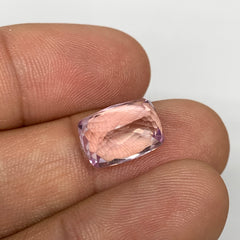 6.77cts, 12mmx8mmx7mm,Heated Kunzite Crystal Facetted Stone @Afghanistan,CTS220