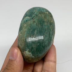 "185.1g,2.7""x1.8""x1.8"" Natural Untreated Amazonite Palm-Stone Polished Reiki,B183"