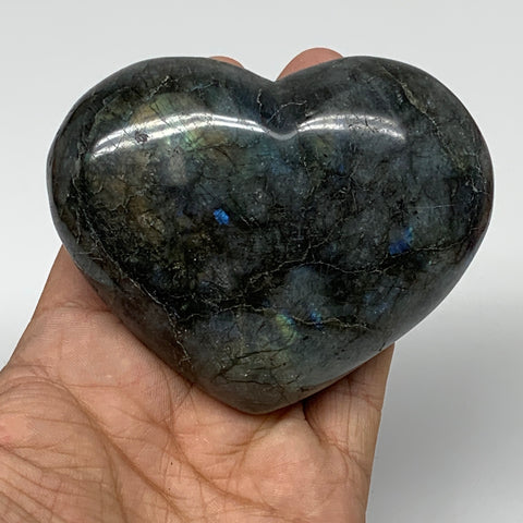 "295g,2.9""x3.5""x1.3"" Natural Labradorite Heart Polished Healing Crystal,B4458"