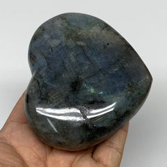 "357.9g,3.1""x3.5""x1.4"" Natural Labradorite Heart Polished Healing Crystal,B4459"