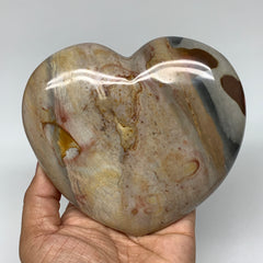 "798g, 4.6""x4.9""x1.6"" Polychrome Jasper Heart Polished Healing Crystal, B2592"