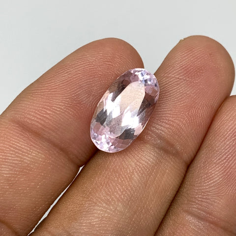 7.63cts, 15mmx8mmx7mm,Heated Kunzite Crystal Facetted Stone @Afghanistan,CTS233