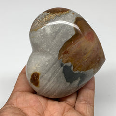 "234.6g, 2.7""x3""x1.3"" Polychrome Jasper Heart Polished Healing Crystal, B2600"